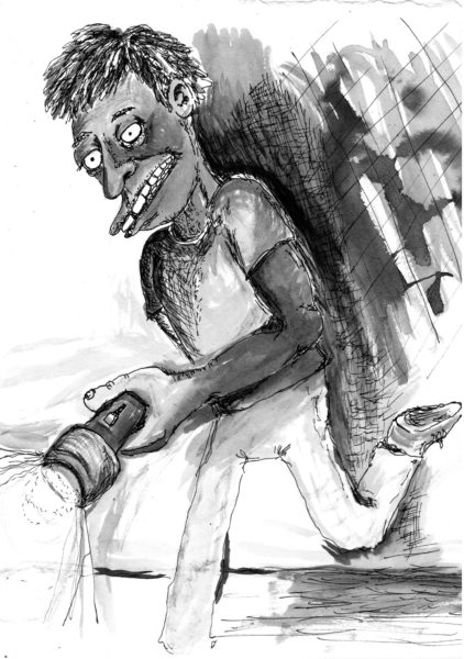 A black and white cartoon drawing of a black person wearing a t-shirt and pants, and carrying a flashlight.