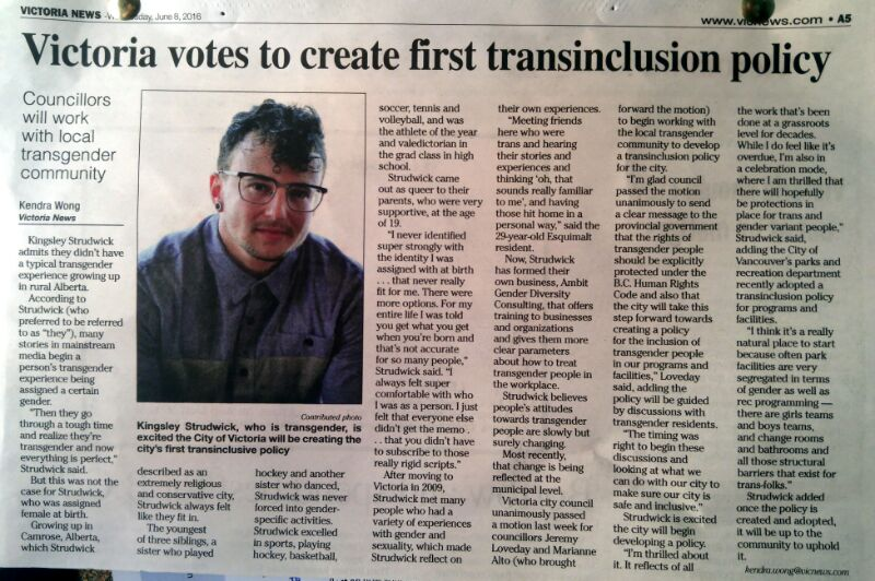 "An image of a newspaper article titled ""Victoria votes to create first trans inclusion policy"", with a photo of Strudwick wearing a blue shirt in the centre"