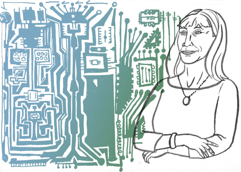 A line drawing of Lynn Conway with and illustrated green and blue circuit board in the background.