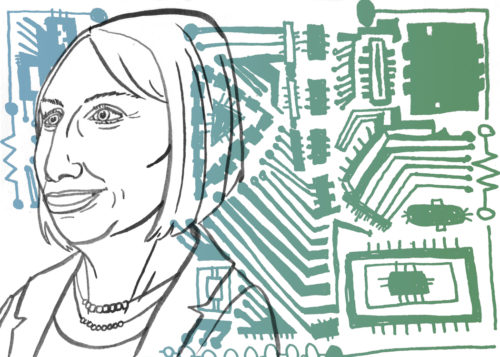 A line drawing of Sophie Wilson with and illustrated green and blue circuit board in the background.