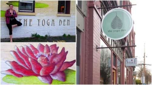 "A collage of 3 images: Rachel (queer yoga teacher) standing in tree pose next to ""The Yoga Den"" sign; a mural of a lotus flower painted by the owner; and ""The Yoga Den"" sign, hung outside of a brick wall in Fernwood."