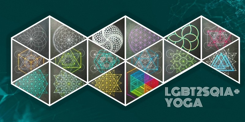 "A dark green banner with ""Sacred geometry (i.e. lots of circles and triangles) with the text LGBT2sQIA Yoga in white."