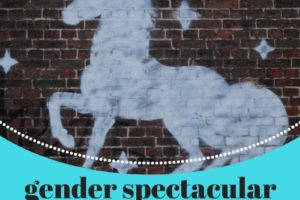 A banner that reads: Gender Spectacular, monthly drop-in, Saturday 3-5pm, 3rd Saturday of each month