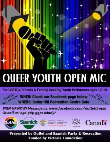 A Rainbow background with a black hand holding a microphone. Details of the event are written on this poster, text is included beside the image.