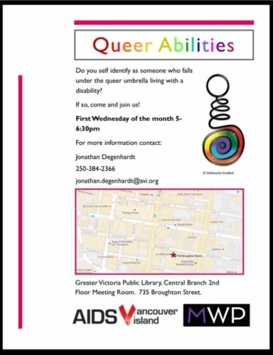Text on a white poster describing the Queer Abilities program. Text is included above this image.