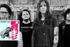 A picture of the band Against Me (with lead singer Laura Jane Grace at the front) with an image of there newest album in the lower left corner. The INgrooves logo is in the top left corner.
