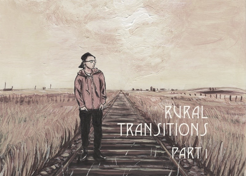 An illustration of Kingsley wearing a red hoodie and black pants, standing on a railroad in the prairies. Text reads: Rural Transitions Part 1
