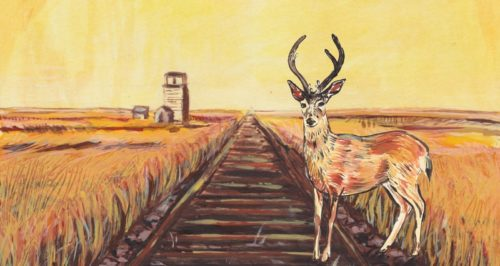 A drawing of a deer standing next to a railroad, with a grain elevator and fields of grass and wheat in the background.