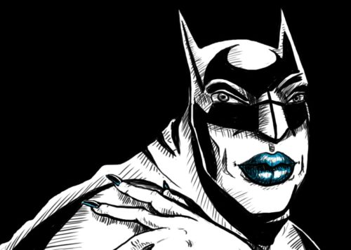 A drawn image of Batman wearing lipstick and nailpolish