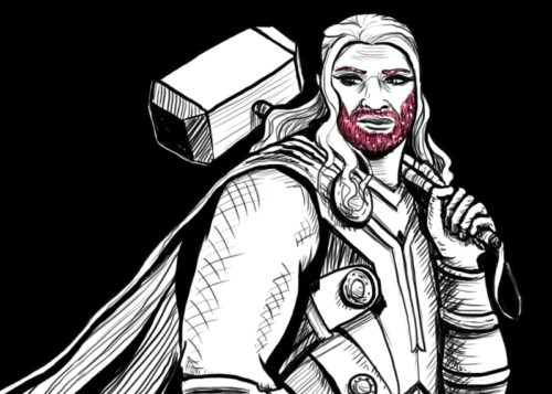Thor, carrying Thor's hammer, rocking a glitter beard