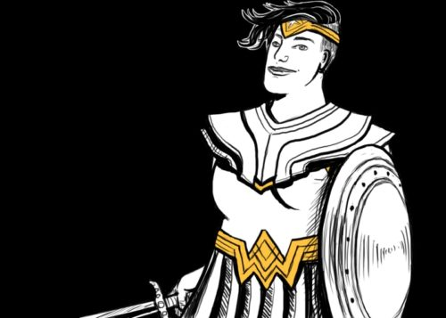 A drawing of an androgynous queer person in a Wonder Woman costume.
