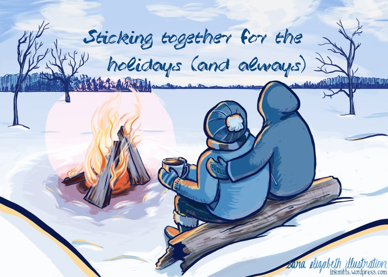 a drawing of two people sitting on a log by an outdoor fire. one person has their arm around the other.