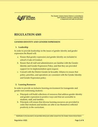 Cover image for Regulation 4305, Greater Victoria School District resource.