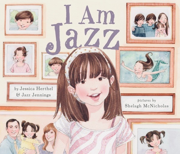 Book cover - I am Jazz, an image of a girl, with framed photos of her family in the background.
