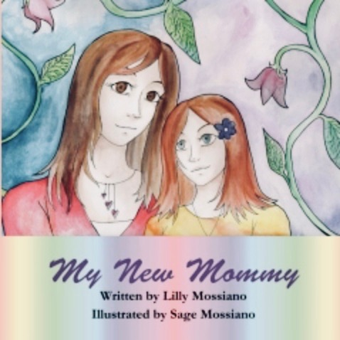 Book cover - My New Mommy, a parent and child, with vines and flowers in the background.