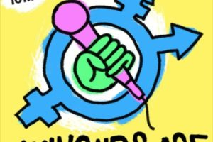 a blue male/female/intersex symbol, with a green fist holding a pink microphone. background is yellow, with bloack text that says CFUV 101.9