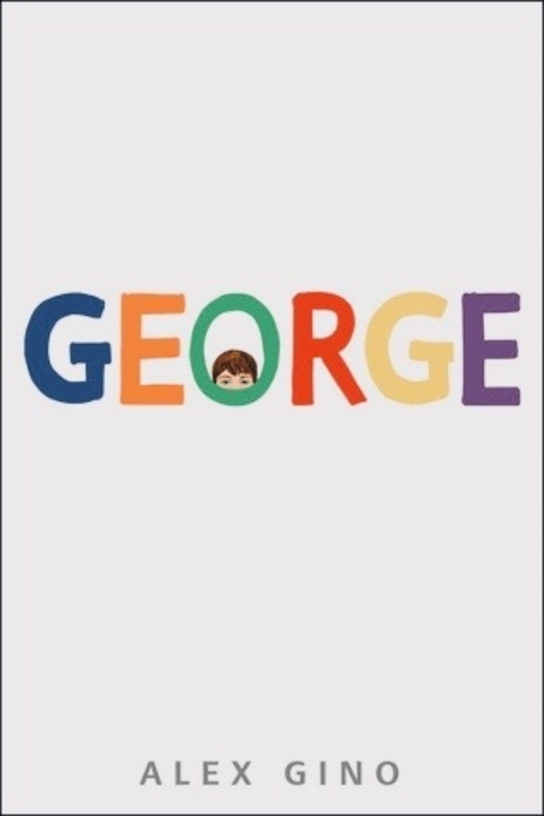 Booke Cover - multi-coloured 'George' with a person's eyes peaking through the 'O'