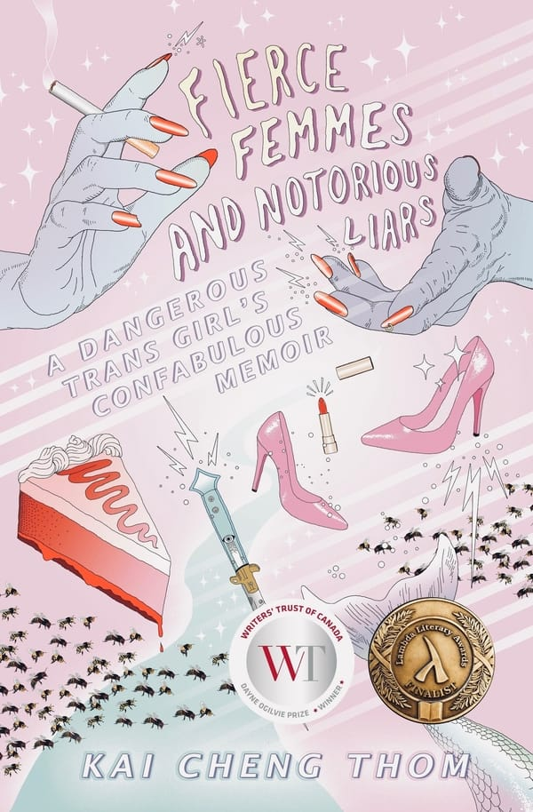 Book cover - two hands with painted nails, holding a cigarette. Other femme imagery including heels, lipstick, and a fancy cake.