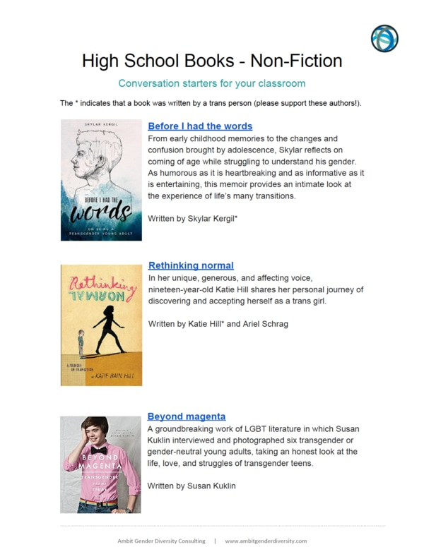 First page of High School Non-Fiction pdf.