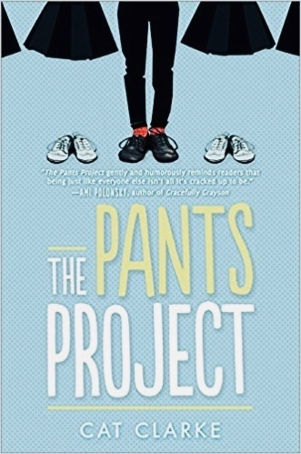 A picture of legs wearing pants, next to skirts on either side. Text reads 'The Pants Project'