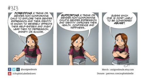 "A 3 panel comic describing that supporting trans children leads to positive health outcomes, and denying trans children leads to negative health outcomes, but that supporting trans children is more commonly considered ""abuse"""