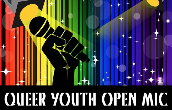 Queer Youth Open Mic - a picture of a hand holding a microphone in front of a rainbow curtain.