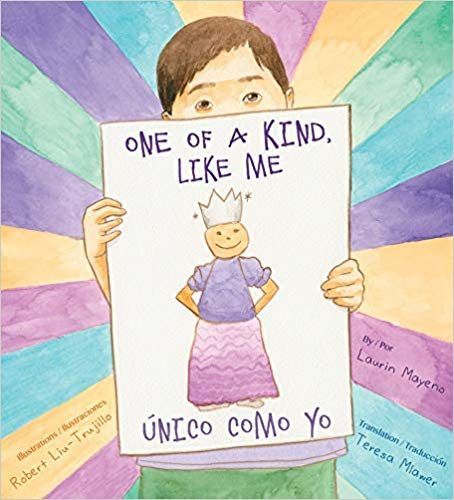 Book Cover - Illustration of a child holding a piece of paper with a drawing of a person wearing a skirt and crown.